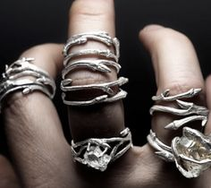 elvish herkimer diamond rings by Joanna Szkiela