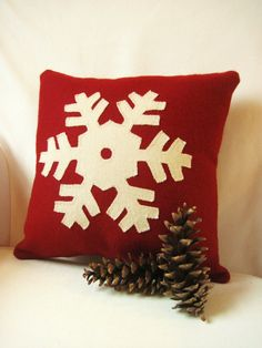 Decorative Winter Pillow / Red Snowflake Pillow / Wool Applique Pillow / Rustic Pillow / Throw Pillow on Etsy, $39.00