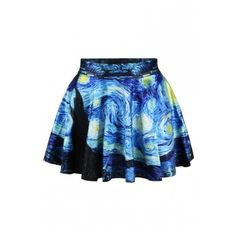 Starry Night Print Elastic Waist Mini Flared Skirt ($20) ❤ liked on Polyvore featuring skirts, mini skirts, blue flared skirt, print skater skirt, skater skirts, print mini skirt and patterned skirts