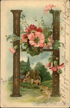 Letter H with Flowers and Cottage Alphabet Letters