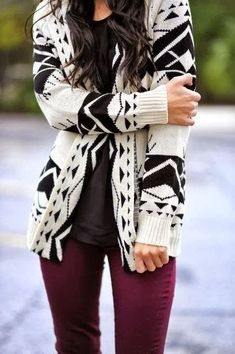 Black and white aztec cardigan with oxblood pants