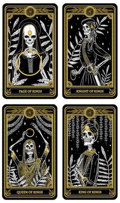 This stunning black, white and gold deck has already gained a lot of support from the tarot community. Amrit Brar brings her own illustrating style featuring skull characters, floral accents and delicate Punjabi clothing and accessories.
