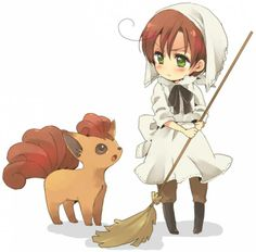 Aww Romano and Vulpix ^.^