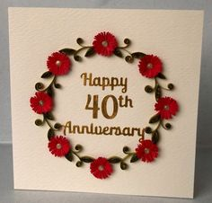 6x6 Husband Anniversary Card See More Folksy Items 6585803 Quilled 40th
