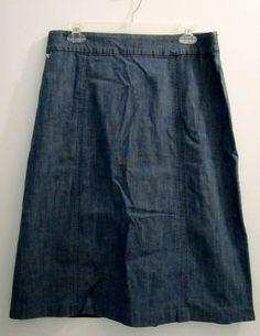 Denim & Co. Skirt Womens Size Large Modesty Pull On Elastic Waist QVC #DenimCompany #ALine