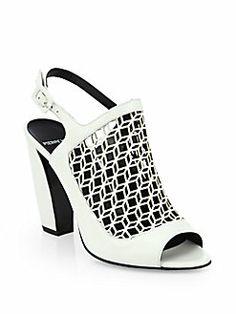 Pierre Hardy - Geometric Cutout Leather Slingback Sandals   SS 2014