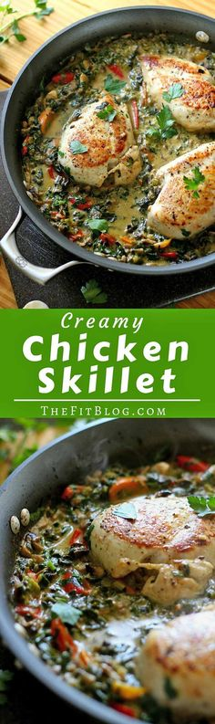 Smothered Creamy Chicken Skillet – This recipe is the perfect mix of healthy and delicious! It's creamy and flavorful while still being high-protein, low-carb, and low-fat {Gluten-Free, Clean Eating}