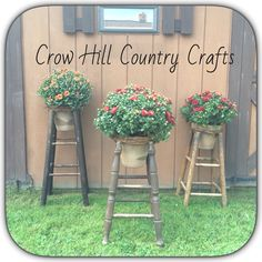 Fall stool planters! https://www.facebook.com/pages/Crow-Hill-Country-Crafts-and-Primitives/1558616364376669