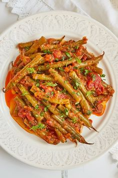 This Greek green bean recipe is one of our vegan favourites; the green beans are slow-cooked in toma Vegan Bean Recipes, Green Bean Recipes, Veggie Recipes, Baby Food Recipes, New Recipes, Vegetarian Recipes, Cooking Recipes, Healthy Recipes, Greek Green Bean Recipe