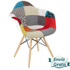 Sillas patchwork de varios modelos con patas de madera de haya barnizadas en http://www.vasderetro.com/sillas-vintage