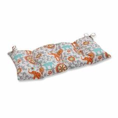 Pillow Perfect Outdoor/ Indoor Menagerie Cayenne Wrought Iron Loveseat Cushion