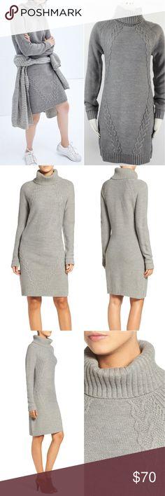 eb7a03f3f56 Eliza J Cable Illusion Turtleneck Sweater Dress 46 Eliza J Women s Dress  Gray Pull Over