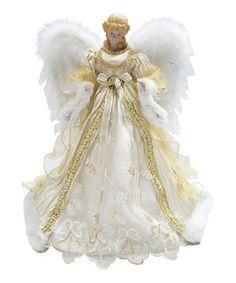 Look at this #zulilyfind! White & Gold Angel Tree Topper by Santa's Workshop #zulilyfinds