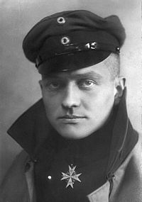 "Manfred von Richthofen wears the Pour le Mérite, the ""Blue Max"", Prussia's highest military order in this official portrait, c. 1917"