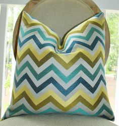 Designer Pillow Cover - Modern Turquoise Teal Blue Grey Jacquard Zig Zag Pillow - Hollywood Regency Chevron Throw Pillow - Designer Pillow