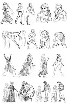 Glen Keane's concept art of Rapunzel from Disney's Tangled. The guy in the bottom line of sketches kind of looks like Kristof...
