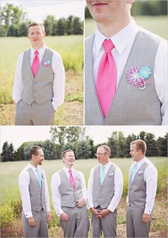 pink, tiffany blue and gray groomsman ideas