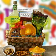 Margarita Gift Basket: could use non-alcoholic mix(or sugar-free) then add small bottle of tequila?  Add chips/salsa.