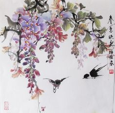 Wisteria Peony Plum Flower Loquat watercolor painting on rice paper wall decor #ArtDeco