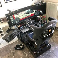 Rate this beast from Gaming Setup, Computer Gaming Room, Computer Desk Setup, Racing Simulator, Video Game Rooms, Custom Pc, Racing Seats, Game Room Design, Game Room Decor