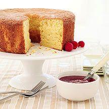 Orange Passover sponge cake with raspberry sauce.