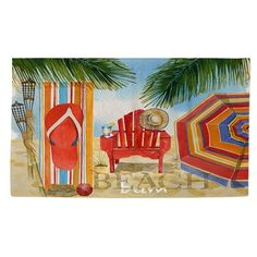 Beautiful art by Mary Escobedo creates a coastal themed design in multi colors for this printed woven rug. The rug is woven, sewn and printed in the USA. Made from 100-percent polyester, the rug is du