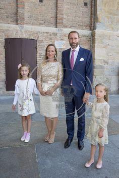 Christening of Prince Carlos de Bourbon de Parme.  Princess Margarita, Tjalling ten Cate, Julia and Paola