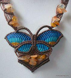 Mariposa de macramé Macrame Jewelry, Beaded Bracelets, Butterfly, Dragonflies, Diy, Rope Necklace, Necklaces, Ropes, Shoes Sandals