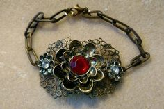 Gold Bracelet,Large Flower Pendant w/Red,Small Flowers w/Rhinestones,Steampunk,Filigree Background,Neo Victorian,Holiday gift,Christmas,Love by TheAndromedaGallery on Etsy