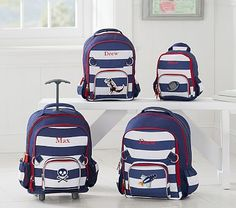 Rolling Backpack, Fairfax Rugby Stripe Navy/White, Pirate ship