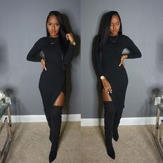 #OOTN  #AllBlackEverything  Dress- @fashionnova  Use code 'XOGLAMTWINZ' for %15 off. | Use Instagram online! Websta is the Best Instagram Web Viewer!