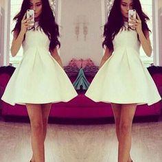 Fashion Solid Color Sleeveless High Waist Dress  #wedding #womenfashion #popular #clothing #elegant Hat World, Cool Outfits, Casual Outfits, Style Snaps, Fashion Killa, Feminine Style, Nice Dresses, Dress Up, White Dress