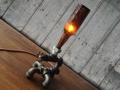 Industrial Bottle Lighting  Man Cave  Table by newwineoldbottles, $130.00