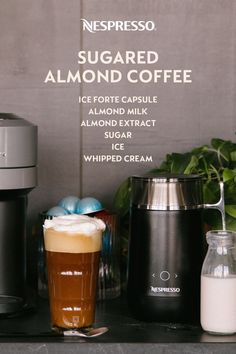 A sweet & nutty summer drink. Almond milk makes it non-dairy, too. INGREDIENTS: 1 Ice Forte capsule; 4 oz almond milk; 1 TSP almond extract; 2 TBSP sugar; ice; whipped cream (optional). MATERIALS: Barista Recipe Maker; View Recipe Glass. HOW TO: Combine almond milk, almond extract & sugar in your Barista machine on the 'Latte Macchiato' setting. Separately, brew Ice Forte into your Recipe Glass. Add ice. Fill glass with prepared milk. Top with whipped cream. Enjoy! Nespresso Usa, Nespresso Recipes, Barista Machine, Barista Recipe, Homemade Iced Coffee, Recipe Maker, Arabica Coffee Beans, Home Coffee Stations