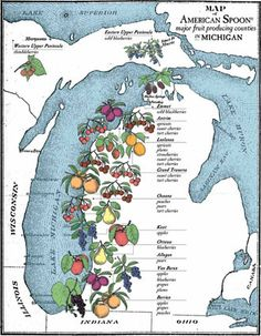 Map of fruit producing counties in Michigan