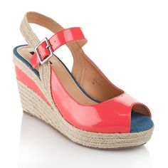 theme Patent Peep-Toe Espadrille Wedge Sandal