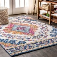 "Shop JONATHAN Y Manisa Vintage Medallion Ivory/Peacock Blue/Coral Area Rug - Free Shipping Today - Overstock - 28423981 - 5'3"" X 7'7"" - Ivory/Peacock Blue/Coral"