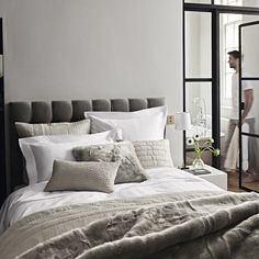Refresh your bedroom this Spring with bedspreads, cushions & throws from The White Company. Cosy Bedroom, Bedroom Sets, Home Decor Bedroom, Bedroom Wall, Dreams Beds, The White Company, Luxury Bedding Sets, Bed Throws, Bed Spreads