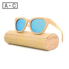 New 패션 제품 남성 여성 유리 대나무 선글라스 au 레트로 빈티지 나무 렌즈 나무 프레임 수제