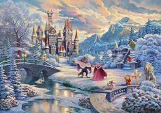 Thomas Kinkade released a new Disney Princess painting – Beauty and the Beast Winter Enchantment! Enter to win our sweepstakes. Art Disney, Disney Kunst, Disney Movies, Princesa Ariel Disney, Disney Princess, Disney Love Stories, Akiane Kramarik, Art Thomas, Pinturas Disney