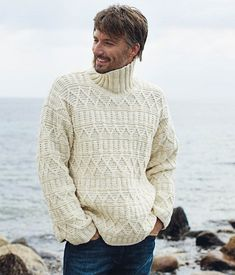 Milky white men's sweater pullover with a structural pattern of alpaca, sheep wool, cashmere, cotton, merino. Mens Cable Knit Sweater, Men Sweater, Russian Winter Hat, Male Sweaters, Turtleneck Style, Russian Men, Male Figure, Graphic Patterns, High Collar