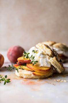 Sweet Peach Thyme Shortcakes   halfbakedharvest.com @hbharvest