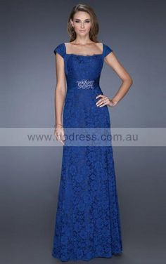 Lace Square Natural Sheath Floor-length Evening Dresses abaa1039--Hodress