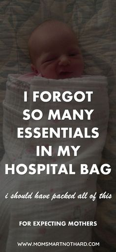 This article provides a hospital bag checklist for mom to be. Prepare for baby by preparing an awesome hospital bag. Prepare your home for baby as well so you are ready for a newborn. via @momsmartnothard