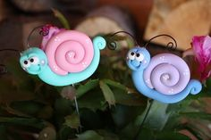 Polymer Clay Pot Garden Stake Purple and Pink SNAIL set. $12.50, via Etsy.