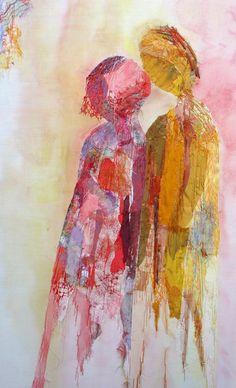 textiel schilderij 'love'