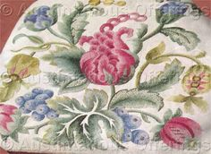 Jacobean Floral Crewel Embroidery Kit -- love the leaf forms here and colors too