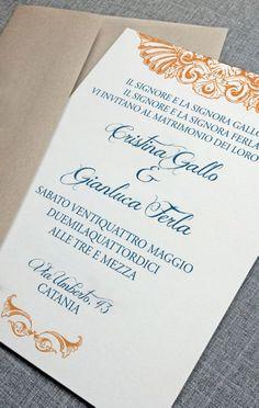 My last Wedding Invitation - Orange and Blue / Partecipazioni di Nozze / invitaciones de Boda / invitations de Mariage.
