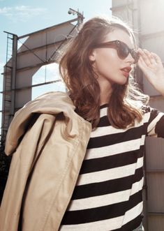 Stripes, leather, and big sunglasses