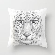 Panthera - portrait Throw Pillow by S-Schukina - $20.00